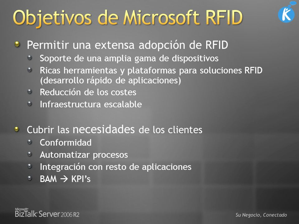 Objetivos de Microsoft RFID