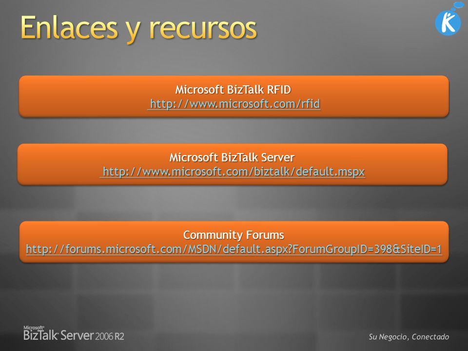 3/29/2017 5:22 PM Enlaces y recursos. Microsoft BizTalk RFID http://www.microsoft.com/rfid.