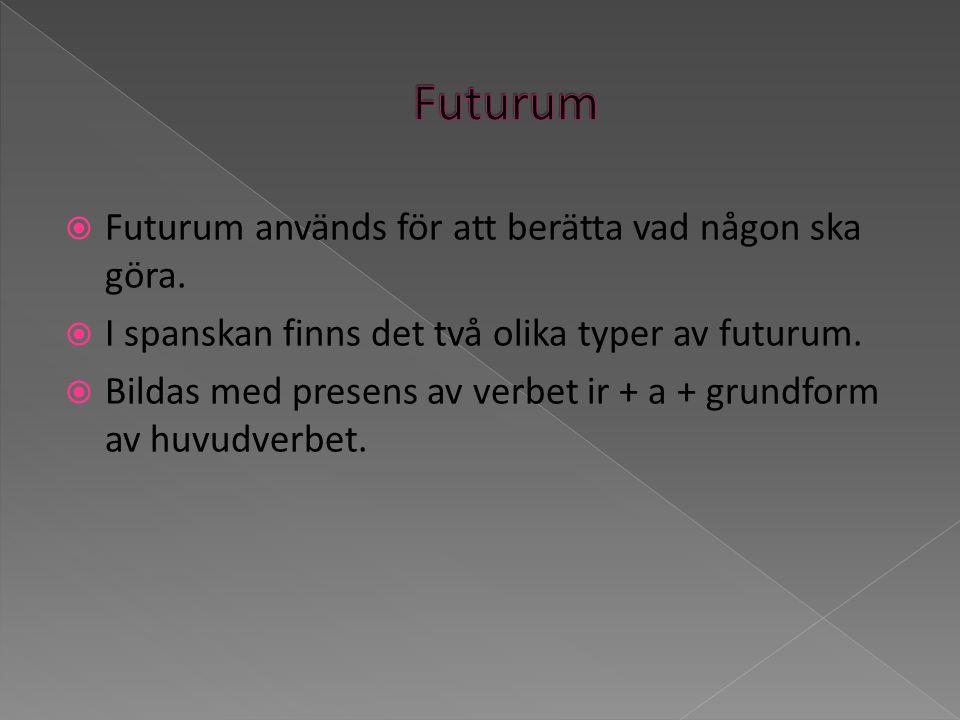 Futurum Futurum används för att berätta vad någon ska göra.