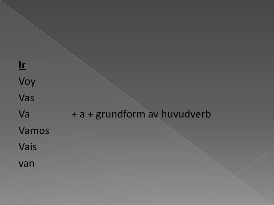 Ir Voy Vas Va + a + grundform av huvudverb Vamos Vais van