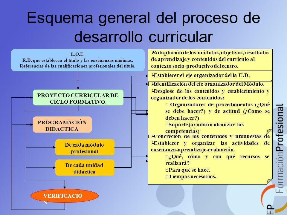 Esquema general del proceso de desarrollo curricular