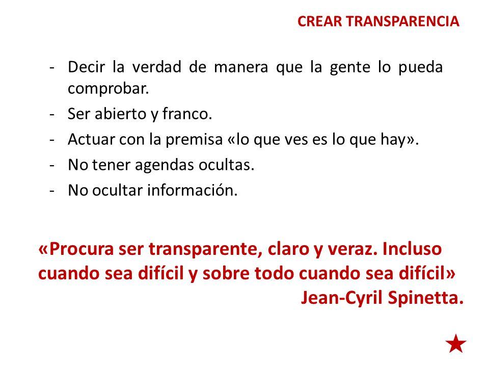 «Procura ser transparente, claro y veraz. Incluso