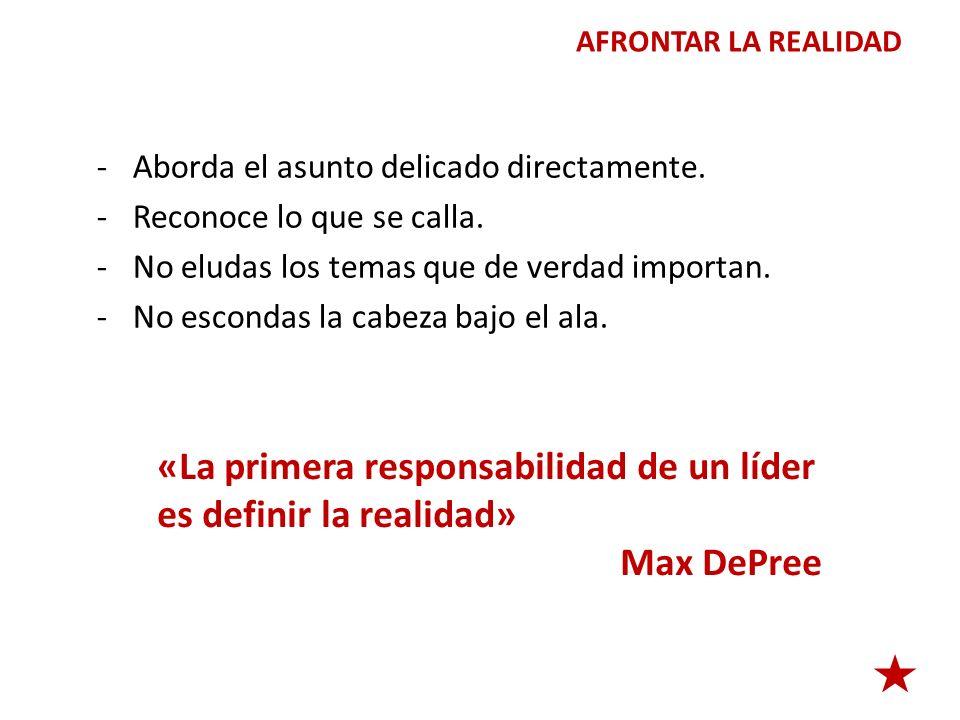 «La primera responsabilidad de un líder es definir la realidad»