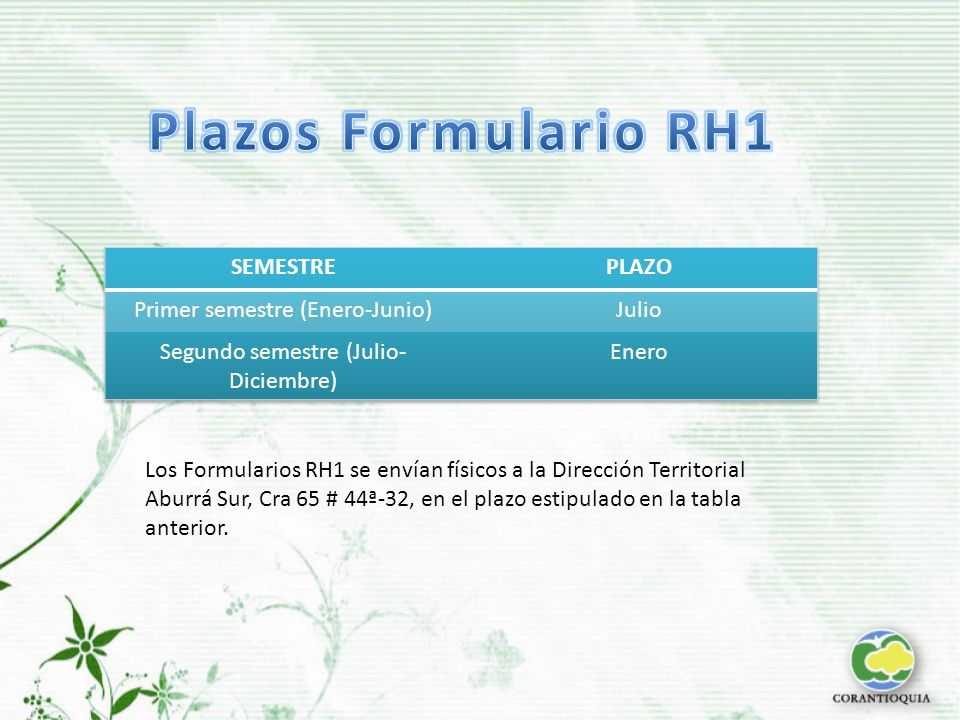 Plazos Formulario RH1 SEMESTRE PLAZO Primer semestre (Enero-Junio)