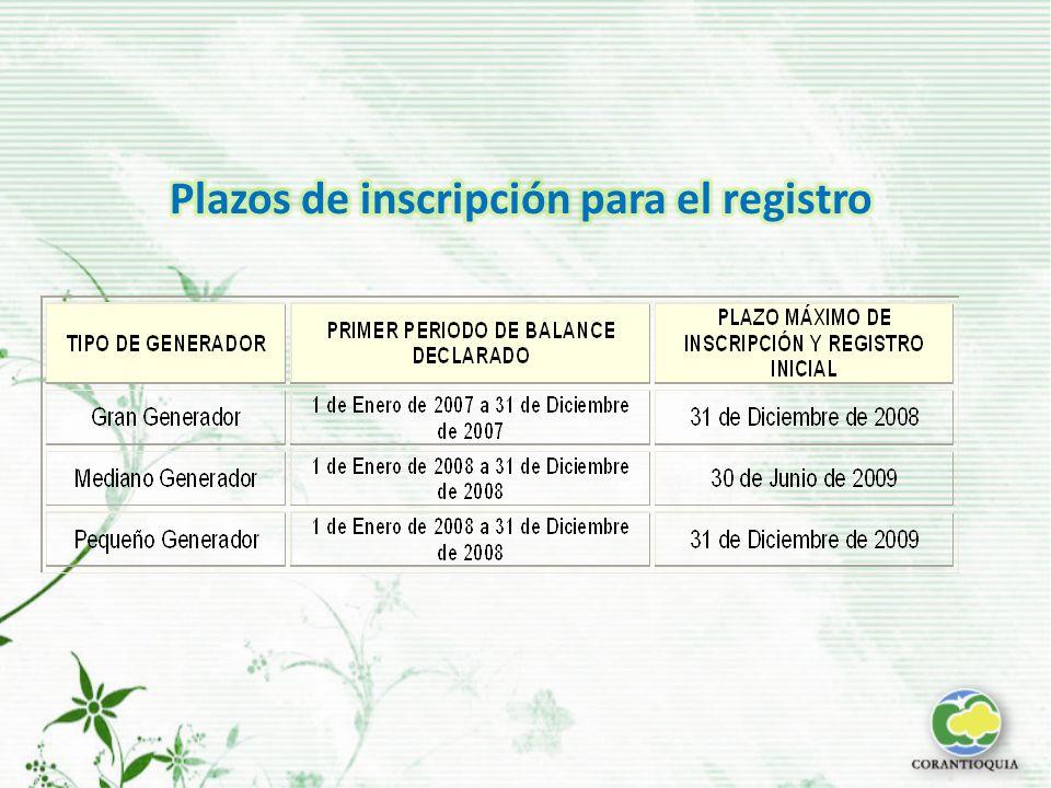Plazos de inscripción para el registro