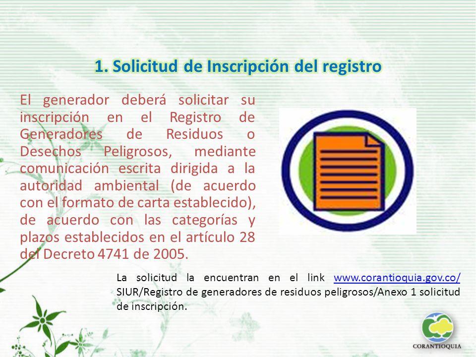 1. Solicitud de Inscripción del registro