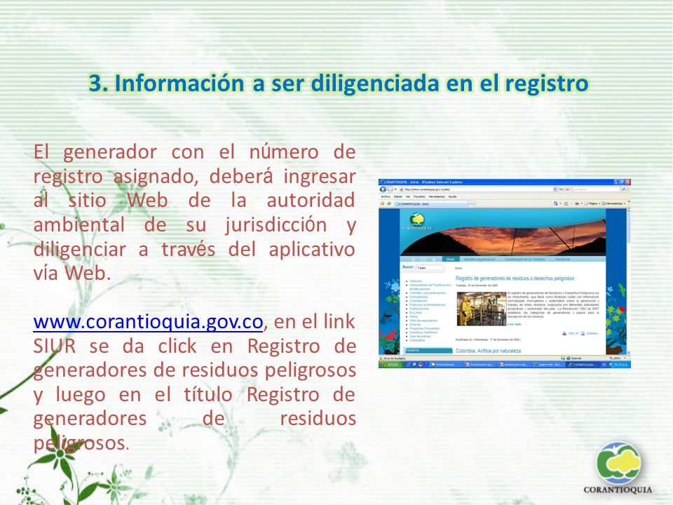 3. Información a ser diligenciada en el registro