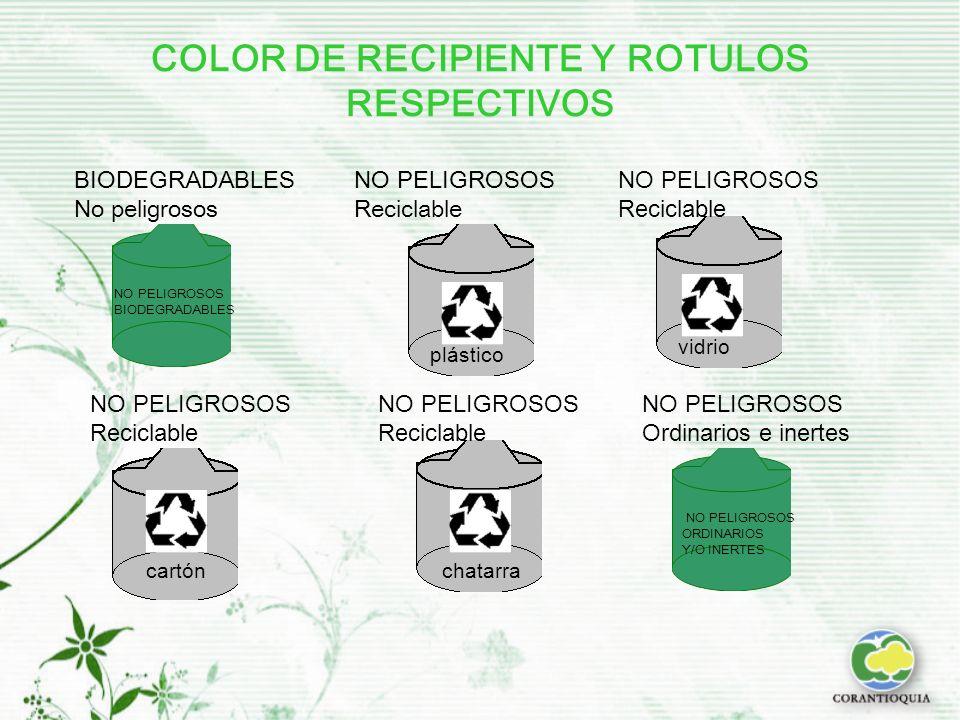 COLOR DE RECIPIENTE Y ROTULOS RESPECTIVOS