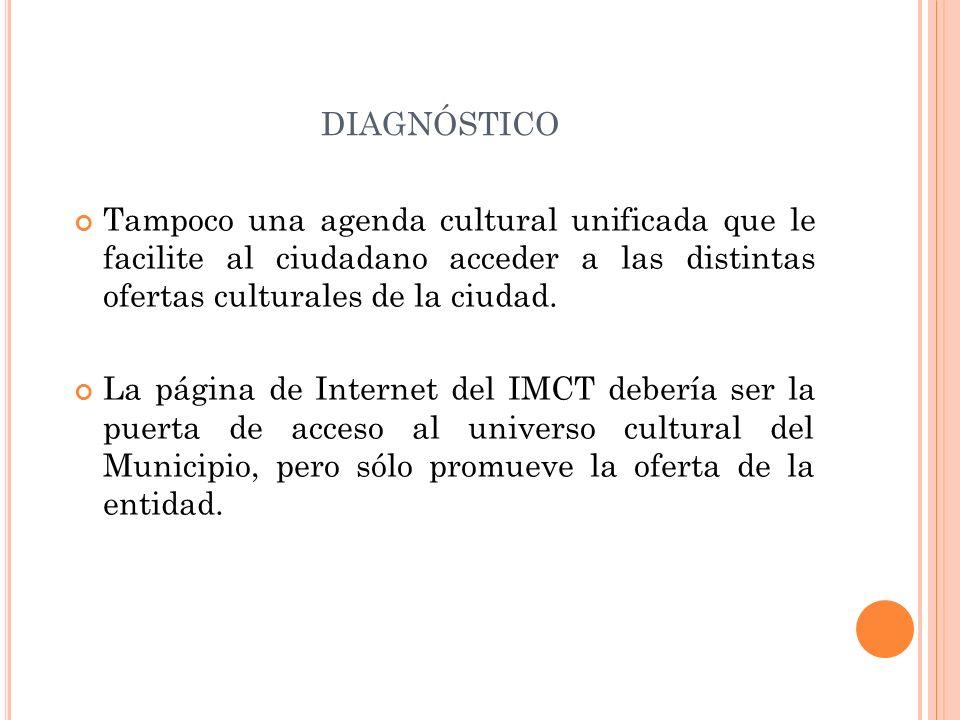 diagnósticoTampoco una agenda cultural unificada que le facilite al ciudadano acceder a las distintas ofertas culturales de la ciudad.