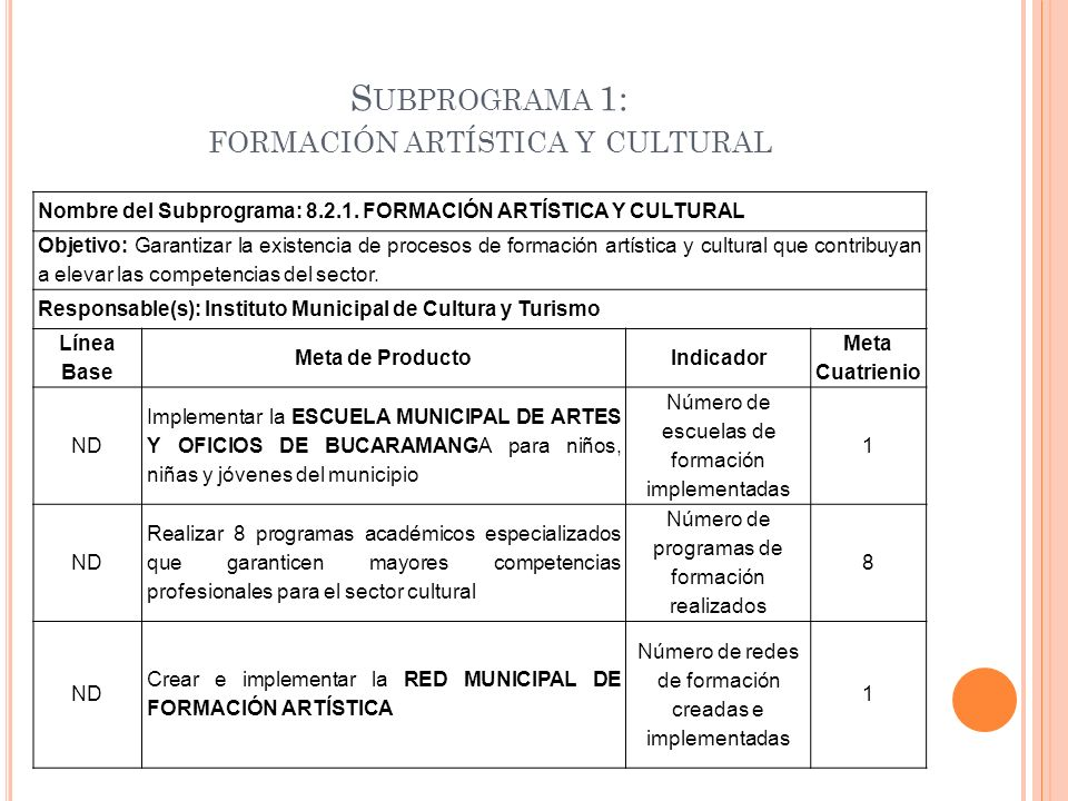 Subprograma 1: formación artística y cultural