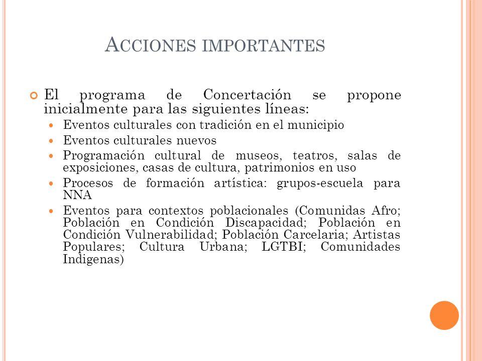 Acciones importantes El programa de Concertación se propone inicialmente para las siguientes líneas: