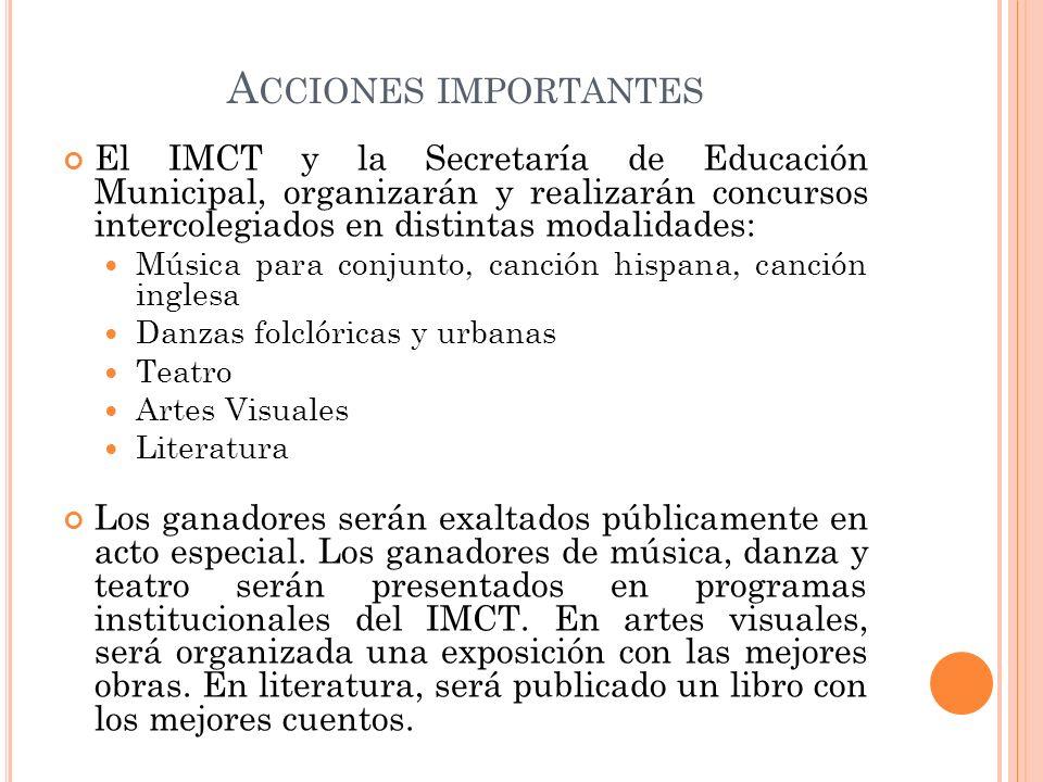 Acciones importantesEl IMCT y la Secretaría de Educación Municipal, organizarán y realizarán concursos intercolegiados en distintas modalidades: