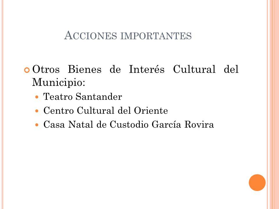 Acciones importantes Otros Bienes de Interés Cultural del Municipio: