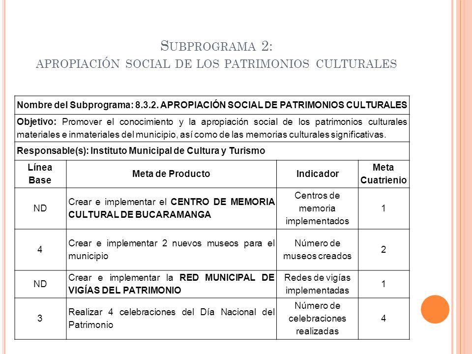Subprograma 2: apropiación social de los patrimonios culturales