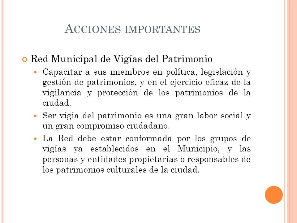 Acciones importantes Red Municipal de Vigías del Patrimonio