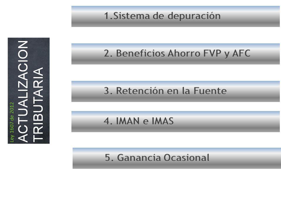 1.Sistema de depuración 2. Beneficios Ahorro FVP y AFC. 3. Retención en la Fuente. 4. IMAN e IMAS.