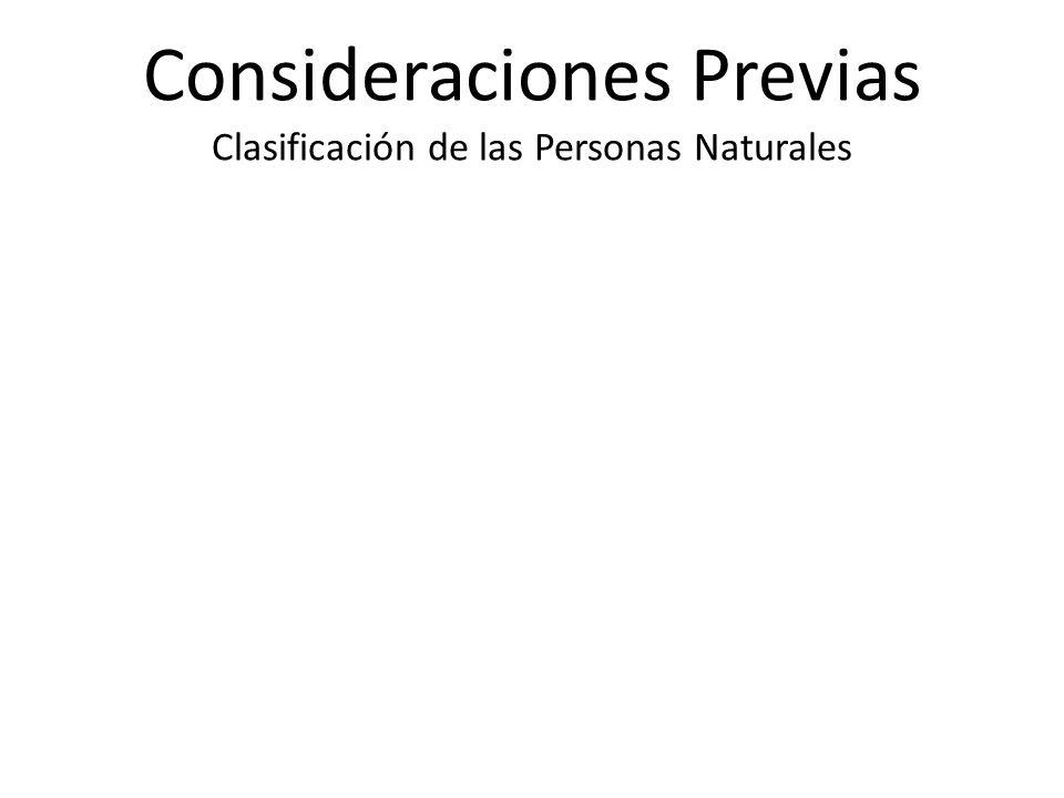 Consideraciones Previas Clasificación de las Personas Naturales