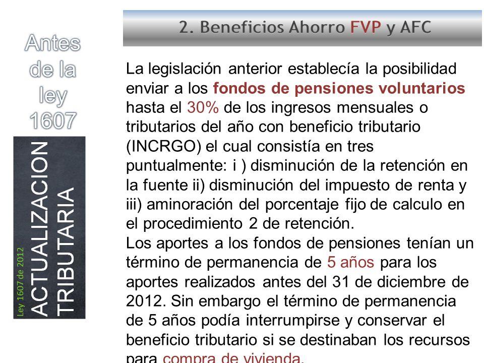 Antes de la ley 1607 2. Beneficios Ahorro FVP y AFC