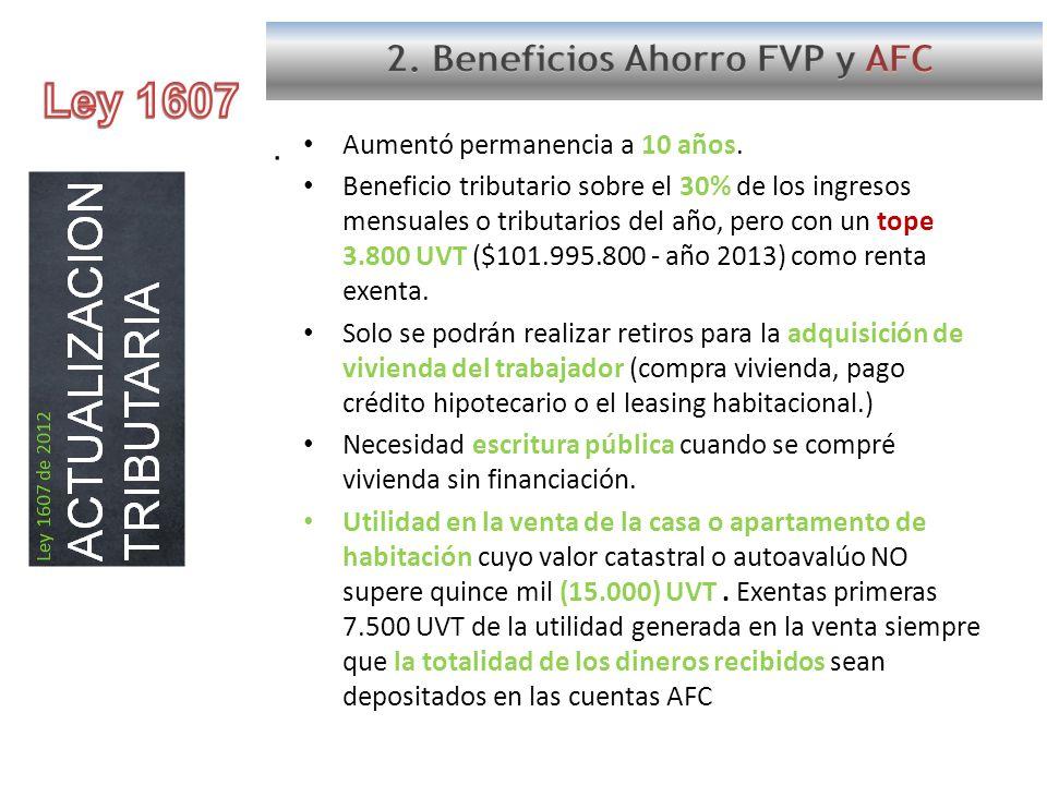 Ley 1607 2. Beneficios Ahorro FVP y AFC .