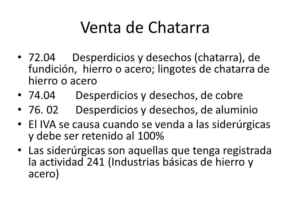 Venta de Chatarra 72.04 Desperdicios y desechos (chatarra), de fundición, hierro o acero; lingotes de chatarra de hierro o acero.