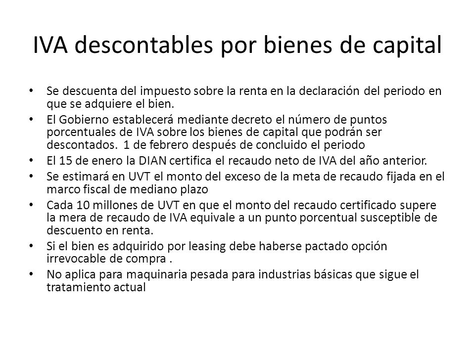 IVA descontables por bienes de capital