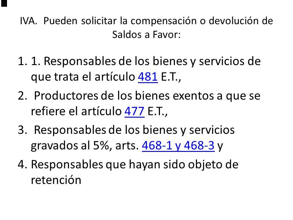 IVA. Pueden solicitar la compensación o devolución de Saldos a Favor: