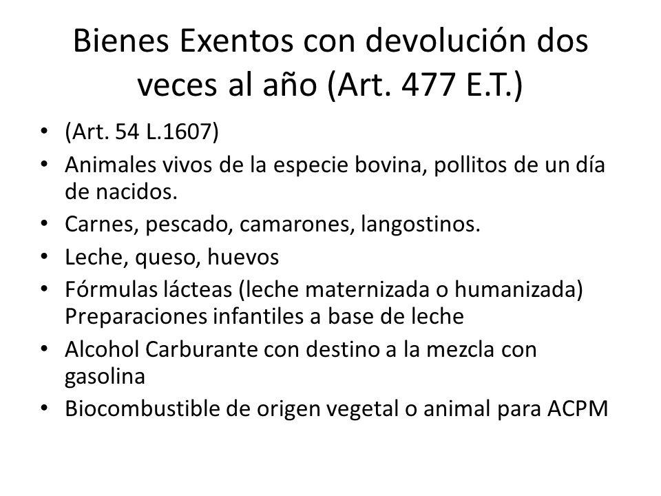 Bienes Exentos con devolución dos veces al año (Art. 477 E.T.)