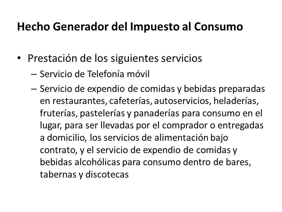 Hecho Generador del Impuesto al Consumo
