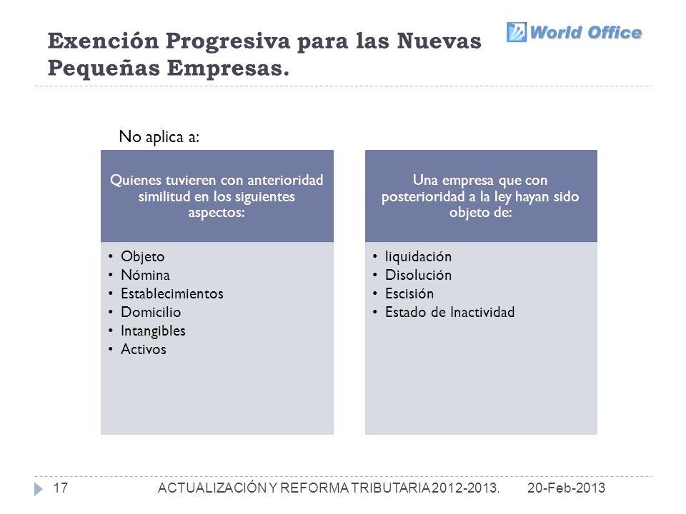 Exención Progresiva para las Nuevas Pequeñas Empresas.