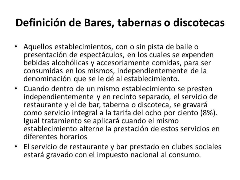 Definición de Bares, tabernas o discotecas