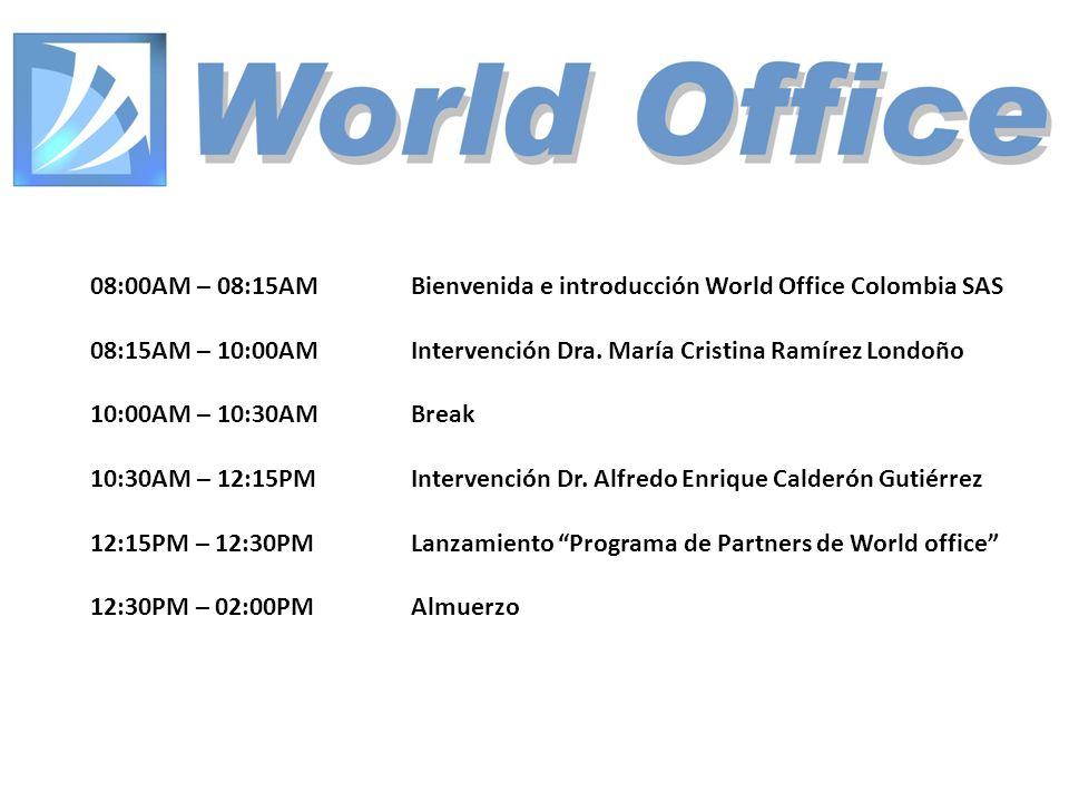08:00AM – 08:15AM Bienvenida e introducción World Office Colombia SAS