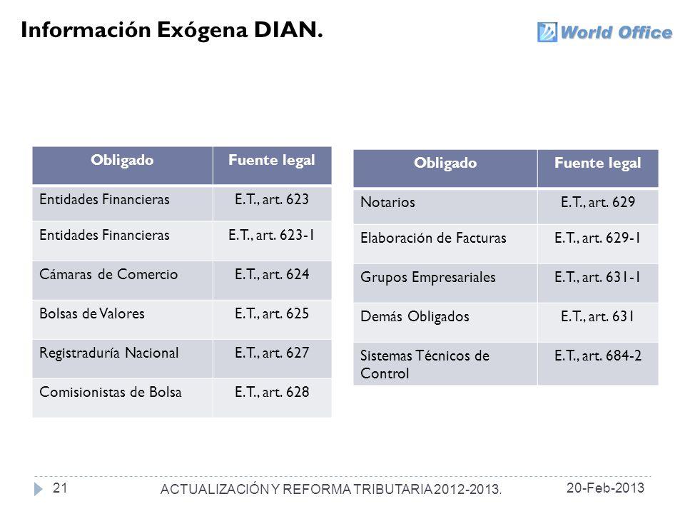 ACTUALIZACIÓN Y REFORMA TRIBUTARIA 2012-2013.