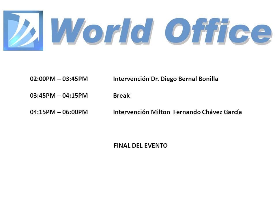 02:00PM – 03:45PM Intervención Dr. Diego Bernal Bonilla