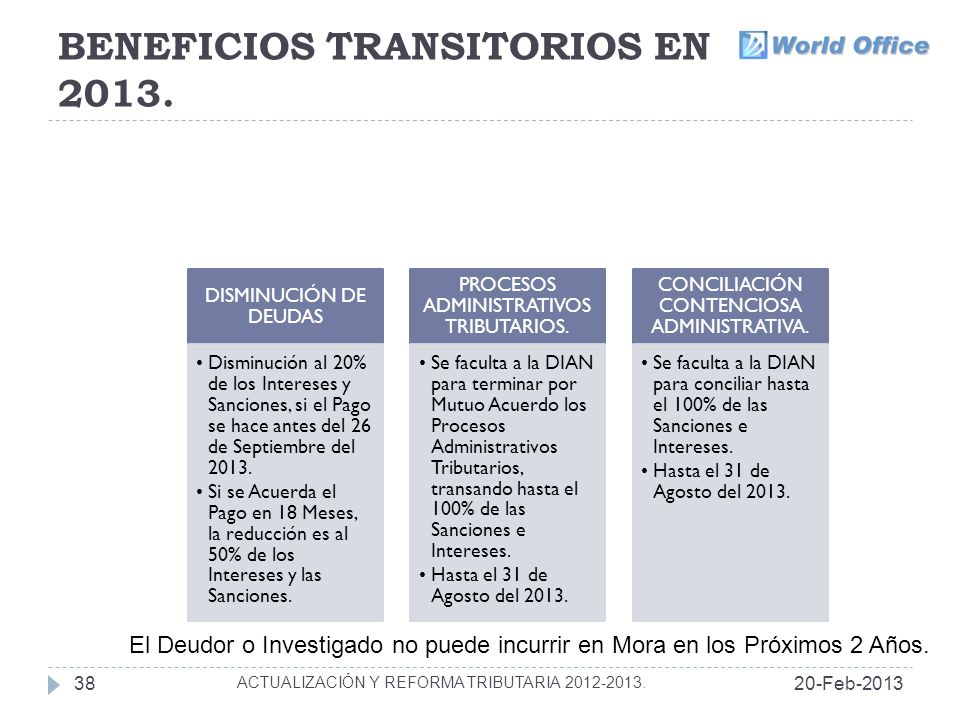 BENEFICIOS TRANSITORIOS EN 2013.