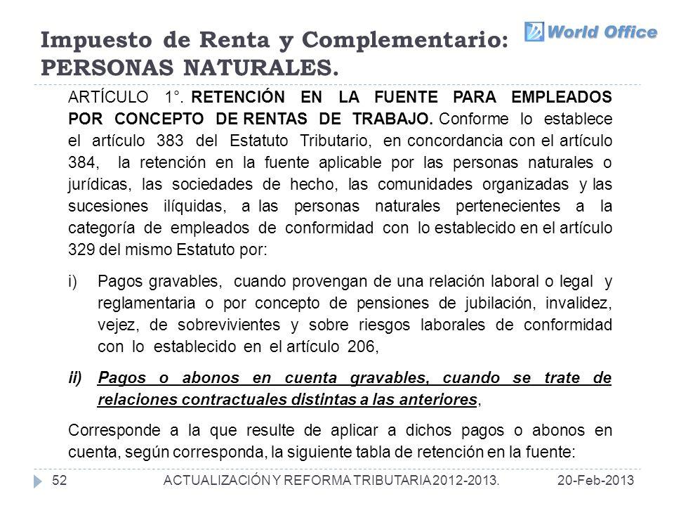 Impuesto de Renta y Complementario: PERSONAS NATURALES.