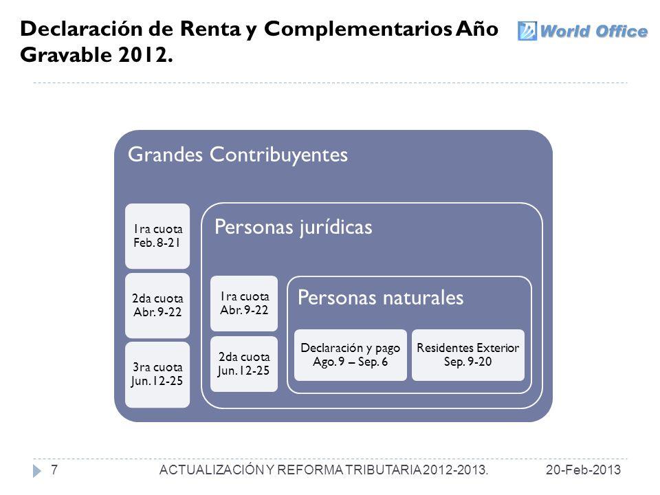 Declaración de Renta y Complementarios Año Gravable 2012.