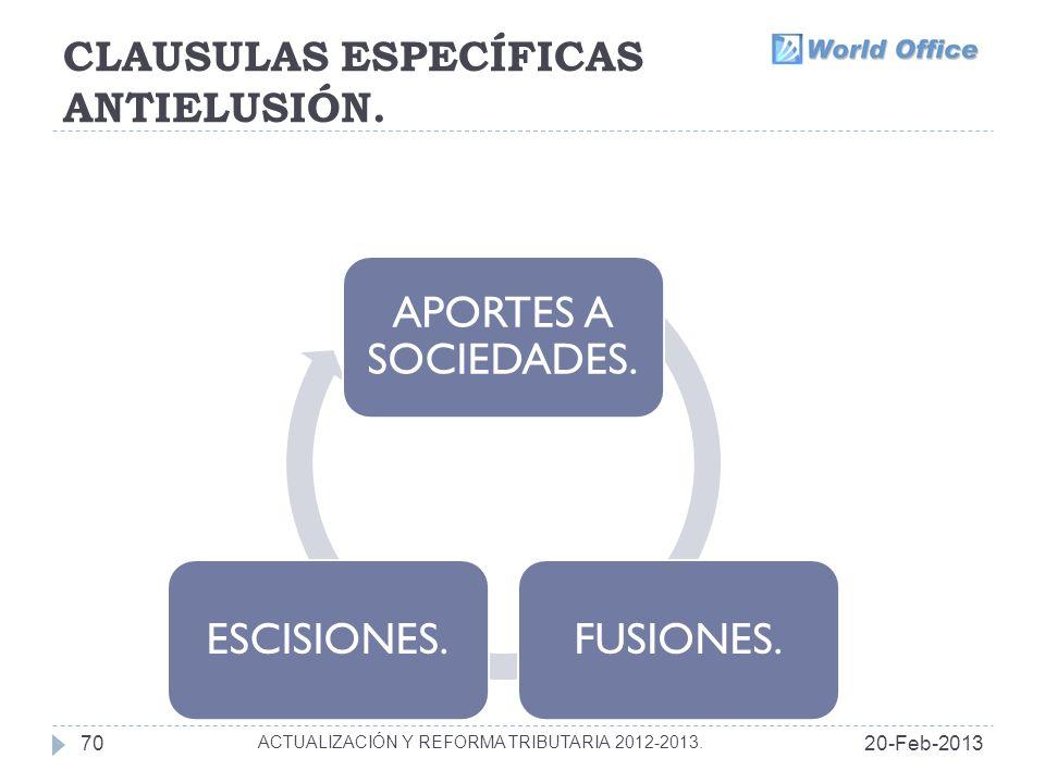 CLAUSULAS ESPECÍFICAS ANTIELUSIÓN.