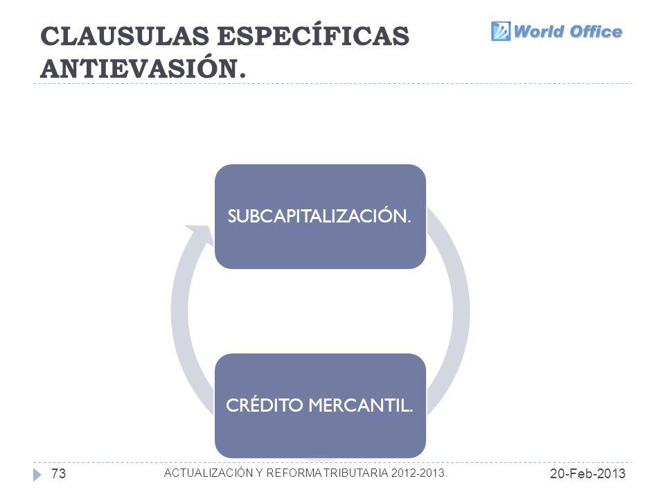 CLAUSULAS ESPECÍFICAS ANTIEVASIÓN.
