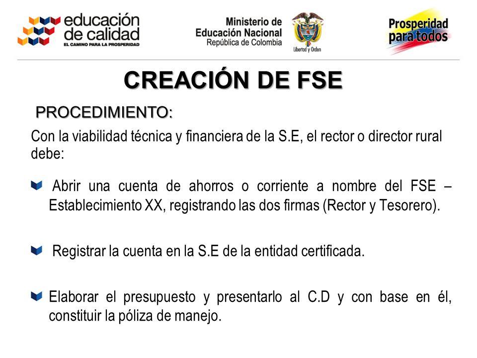 CREACIÓN DE FSE PROCEDIMIENTO: