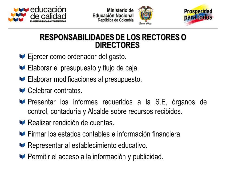RESPONSABILIDADES DE LOS RECTORES O DIRECTORES