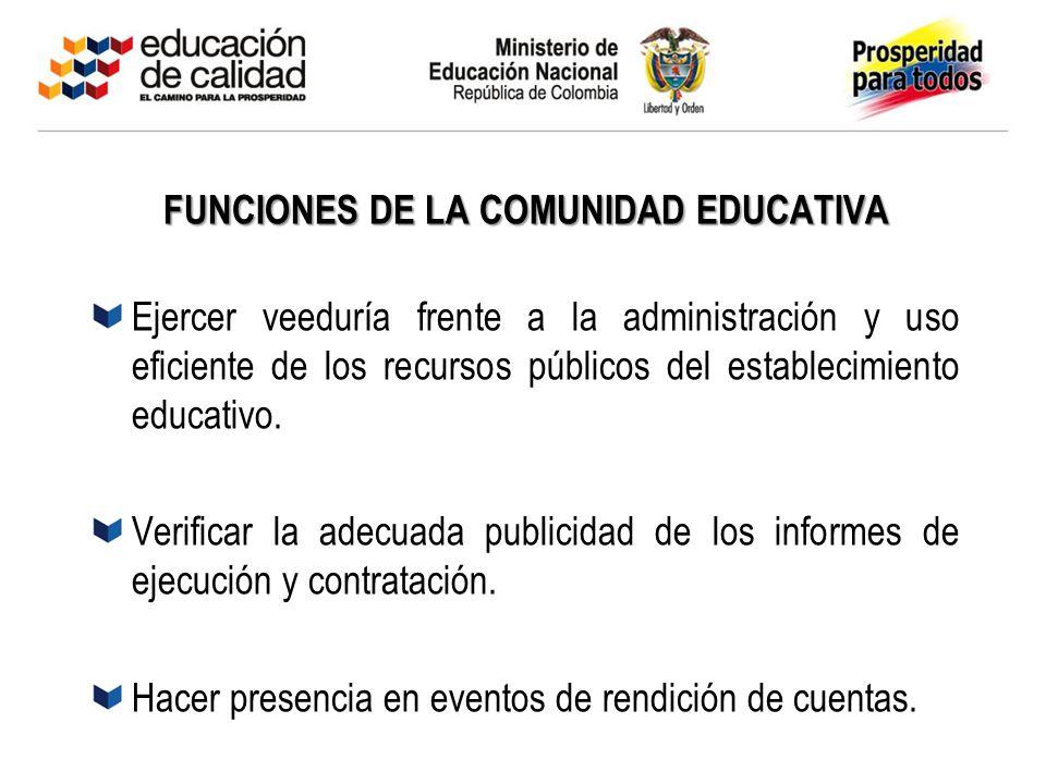 FUNCIONES DE LA COMUNIDAD EDUCATIVA
