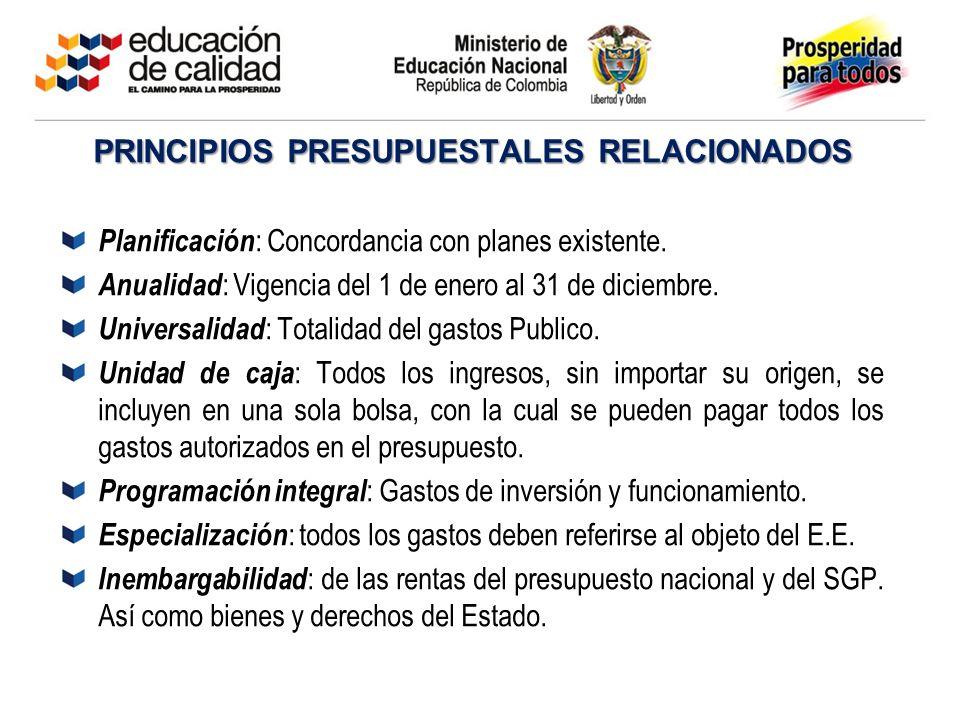 PRINCIPIOS PRESUPUESTALES RELACIONADOS