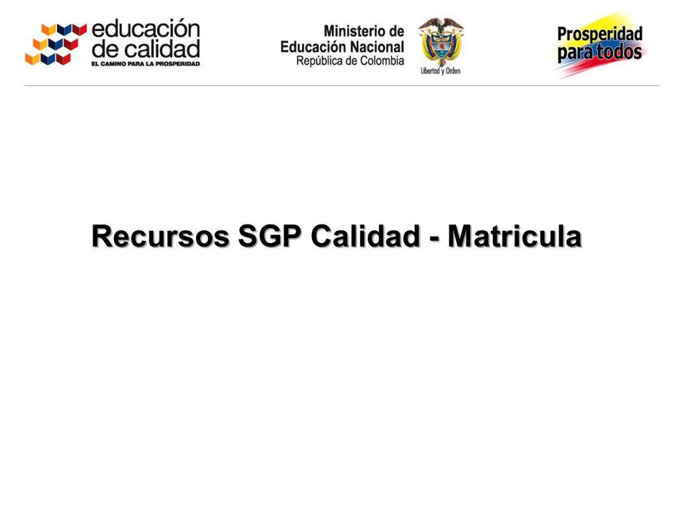 Recursos SGP Calidad - Matricula