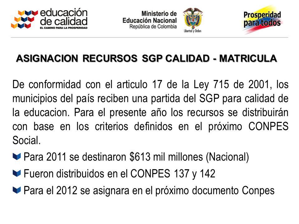 ASIGNACION RECURSOS SGP CALIDAD - MATRICULA