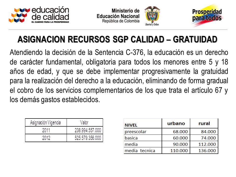 ASIGNACION RECURSOS SGP CALIDAD – GRATUIDAD