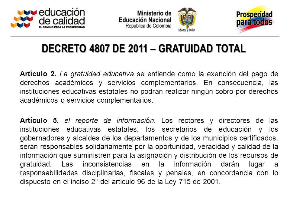 DECRETO 4807 DE 2011 – GRATUIDAD TOTAL