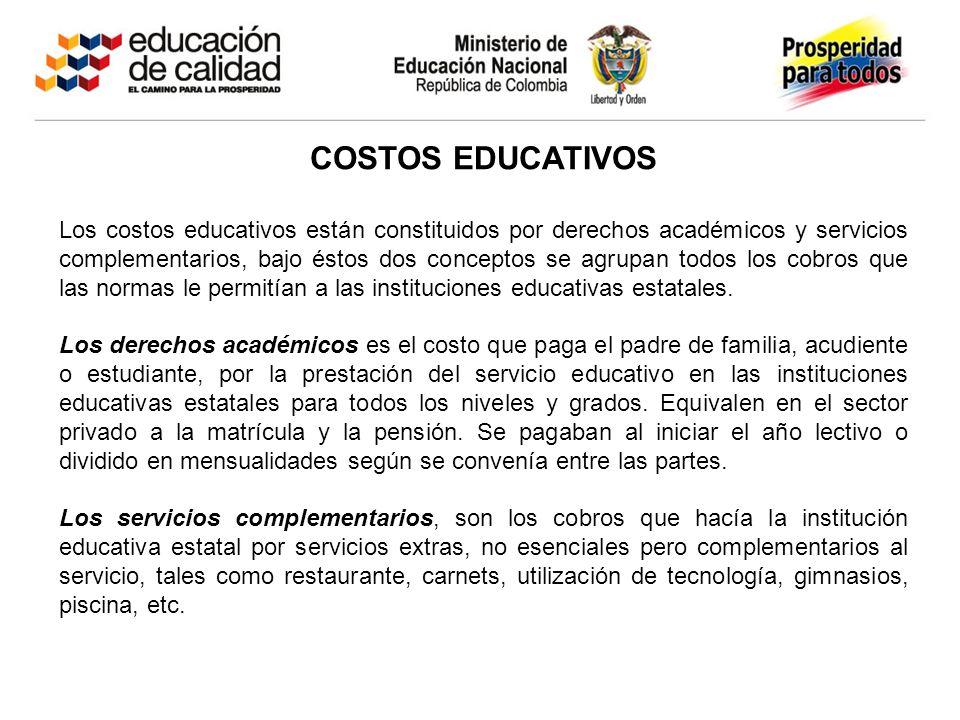 COSTOS EDUCATIVOS