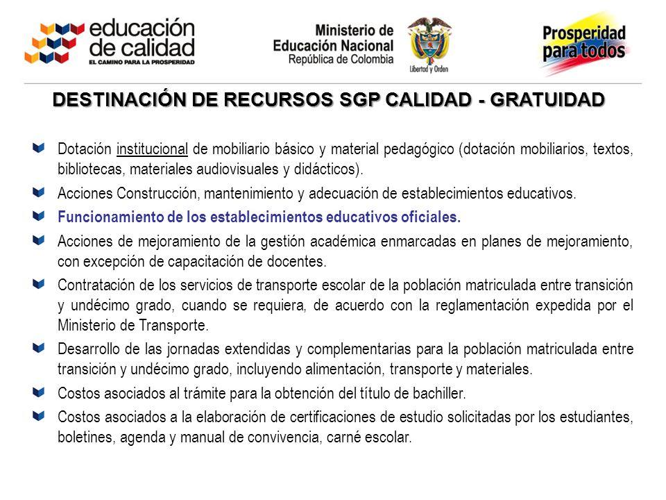 DESTINACIÓN DE RECURSOS SGP CALIDAD - GRATUIDAD