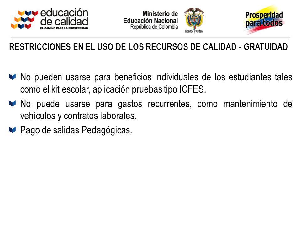RESTRICCIONES EN EL USO DE LOS RECURSOS DE CALIDAD - GRATUIDAD