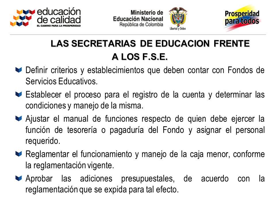 LAS SECRETARIAS DE EDUCACION FRENTE